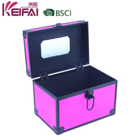 Pink Color Hard Side Aluminum Vanity Case For Travel