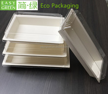 EP02 biodegradable food container paper tray with PLA lid Tableware Paper Food folding paper food tray