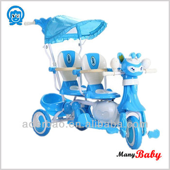 2015 new design two seat baby tricycle,twins cheap baby trike tricycle toys car,wholesale baby tricycle supplier