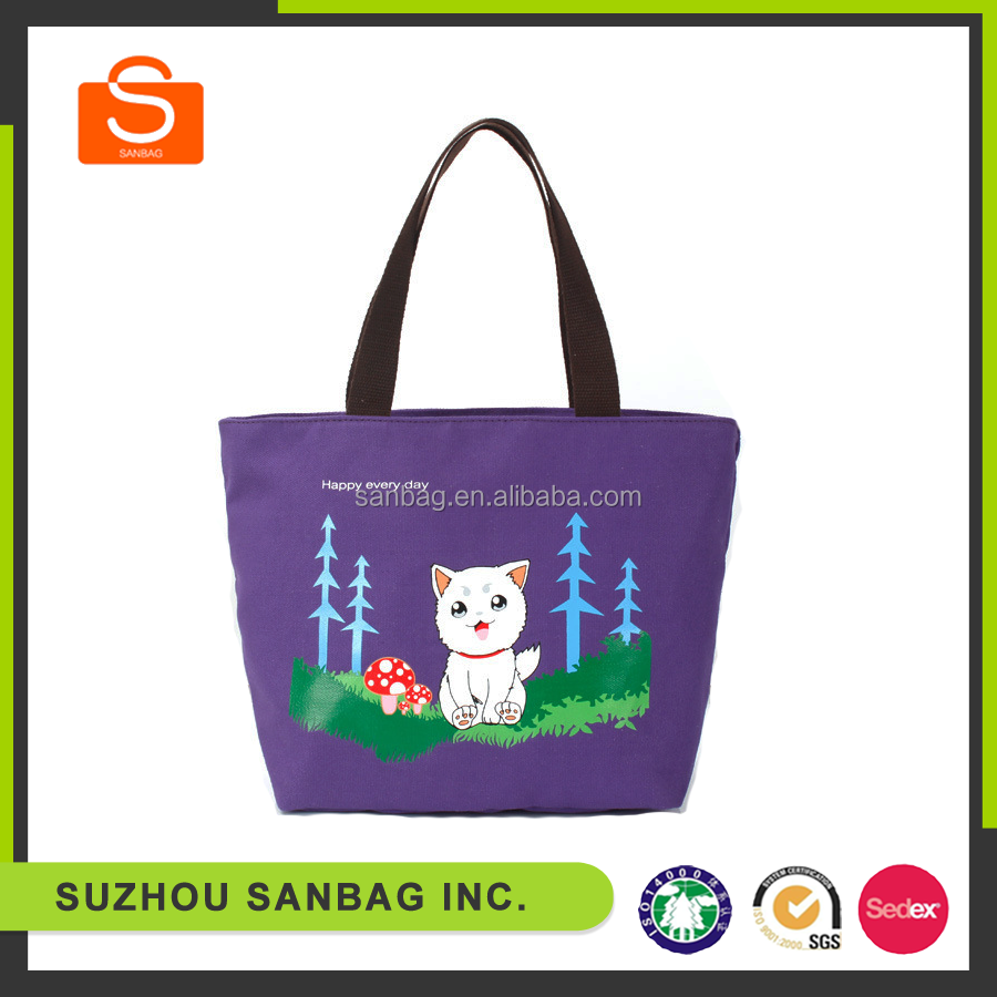 pvc coated cotton bag with embroidery logo and drawstring