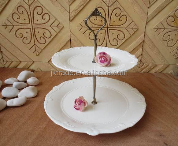 Alibaba China supplier dessert plate 8 decorative cake plate white porcelain embossed 2 tier wedding cake stand
