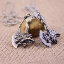 Hot Game Dota 2 AXE Necklace For Dota Fans Dragon Weapon Sword Keychian Key Rings Gift