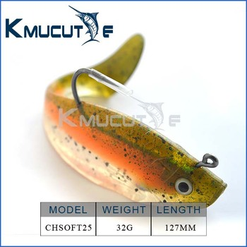 New designed soft shad with hook on back 127mm 32g lead head inside for fishing tackle