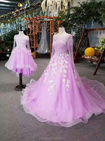 Long sleeve backless heavy beaded crystal Factory customized beautiful pink wedding dress for young girl