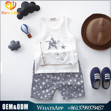 Kids Clothing 2017Summer New Style Boy Han Edition Leisure Pure Cotton Waistcoat +Star Shorts 2 pcs Suits Children Sets