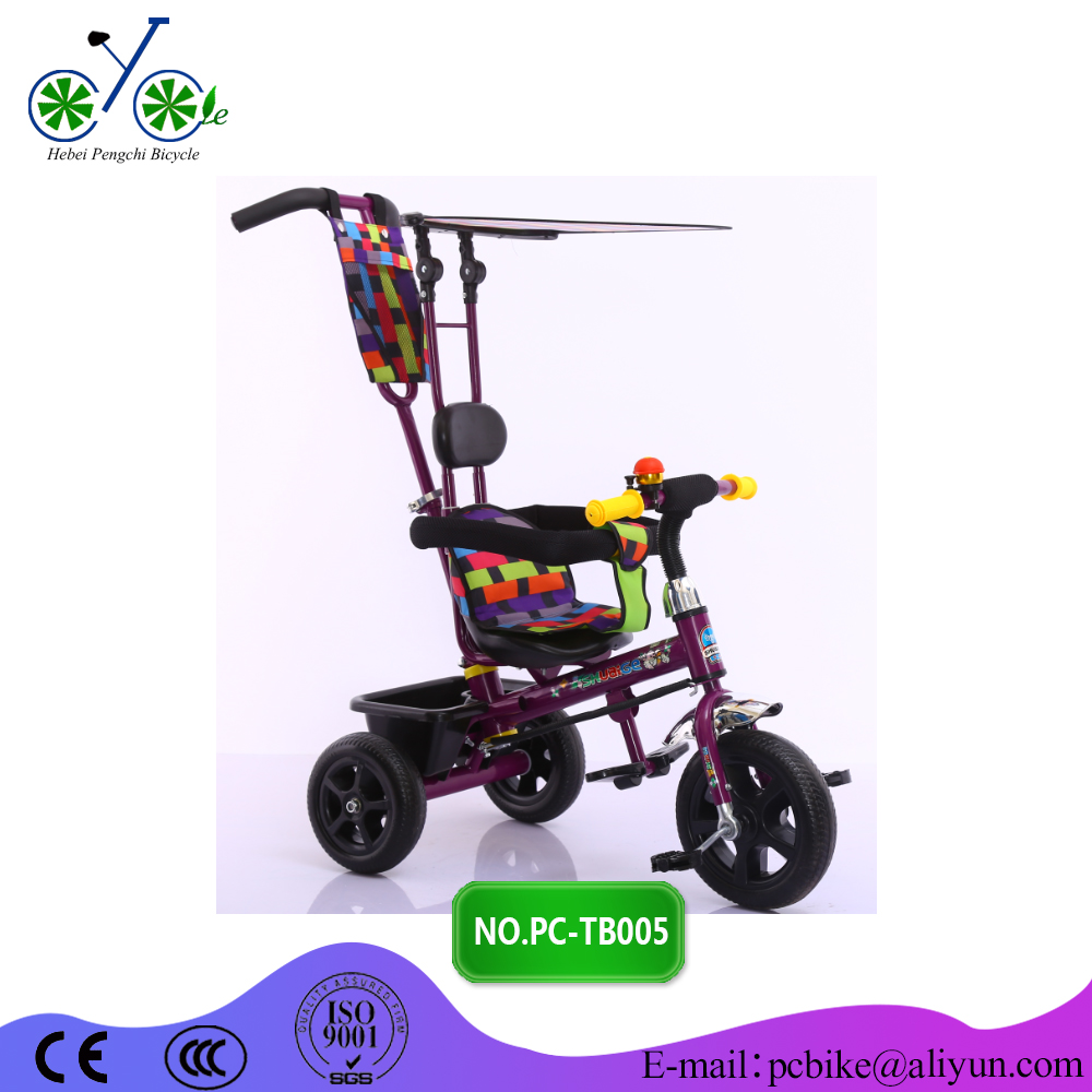 steel/plastic material and parents push or baby ride power kids tricycle