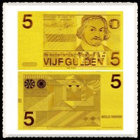 Exquisite Handicrafts Netherlands Banknotes 5 Gulden Pure 24k Gold Banknote For House Decoration And Business Gift