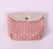Wholesaale Zakka cotton and linen materials cloth art to receiving bag green dot hidden interlocking cosmetic bag receiving bag