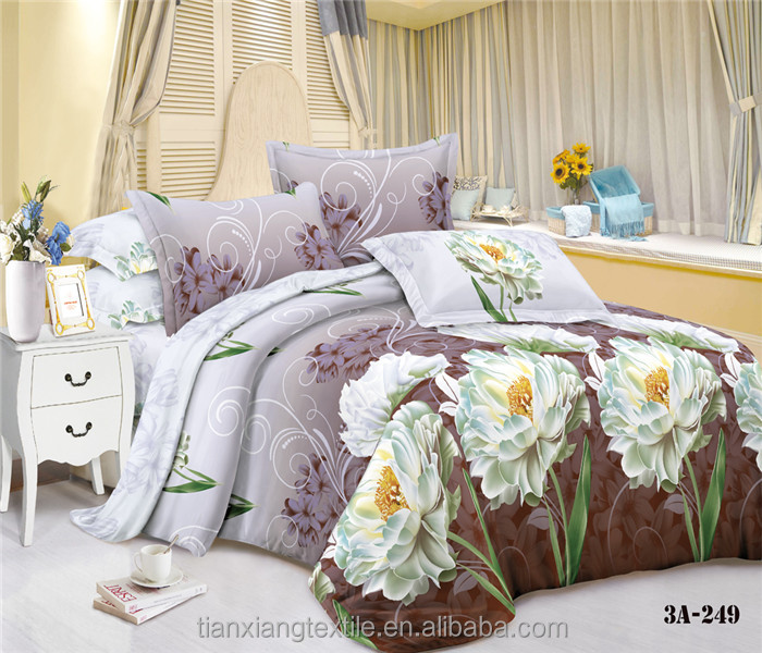 100 % Microfiber Breathable Polyester Printed Fabric For Bed Sheet