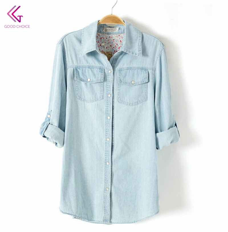 New 2015 Autumn Hot Sale Denim Cardigan Turn-Down Collar Long Shirt Double Pockets Fashion Casual Women Tops Blouses FW253
