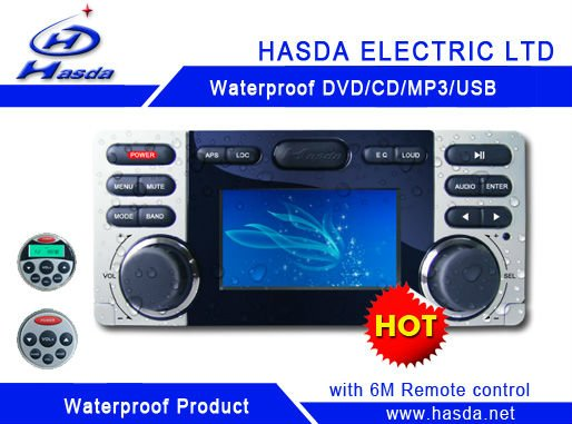 HOT Waterproof outdoor marine car dvd player with LED screen,radio,usb,marine dvd,using in the sauna room,marine boat,outdoor