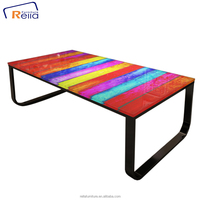 home goods coffee table glass and metal frame table