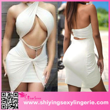 Cheap Wholesale Beige Twist Halter Pleated Kim Kardashian Mini Dress