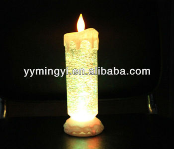 flameless battery operated led glitter candle light christmas light water filled