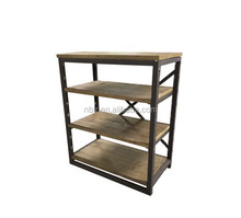 High Quality Industrial Reclaimed Wood Metal Frame Book Shelf Simple Low Cabinet