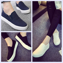 2016 Ladies Low Canvas Shoes Flat Slip-on Casual Solid Woman Leisure Shoes 3 Colors Size 35-39