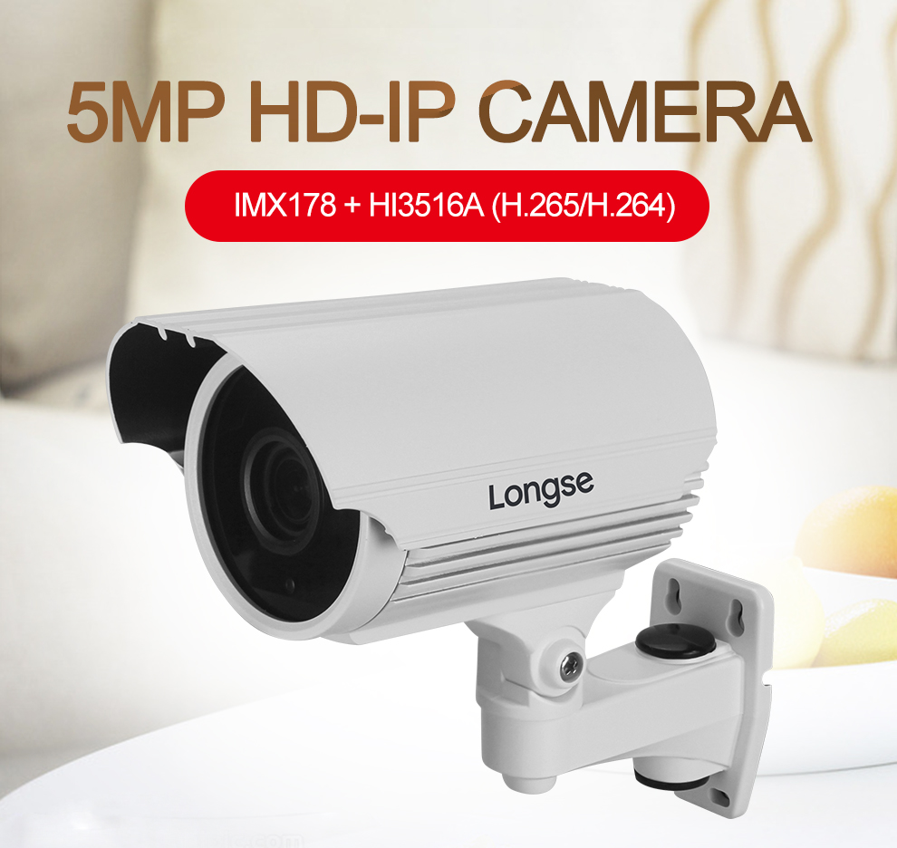 longse 5MP Hign Resolution HiSilicon IP Camera with internal POE, P2P, ONVIF LIA90ES500