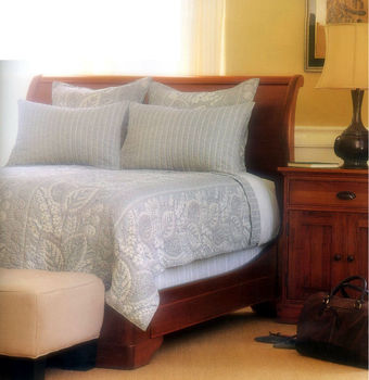Mindi/Oak Sleigh Bed in Natural Honey Finish