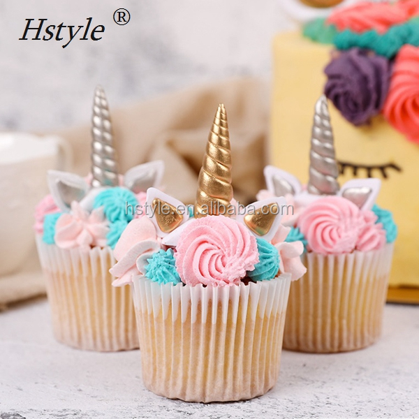 Unicorn Horns Ears Clay Cake Decorations Cupcake Toppers Dessert Table Party Decoration Supplies PQ275