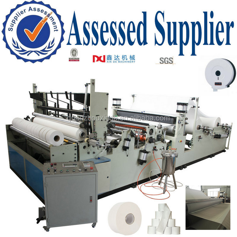 Industrial tissue paper maxi rolls rewinding making machine