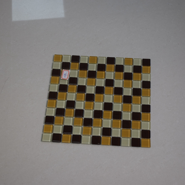 Simple And Easy Mosaic Design Dot Mounted Glass Mosaic Pattern Cheap Black Glass Mix Yellow Color
