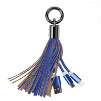 Data transfer usb cable android charging 2 in 1 leather keychain usb cable