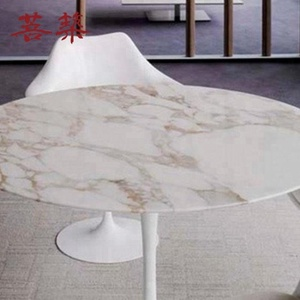 Solid surface top round side modern dining table set 6 chairs