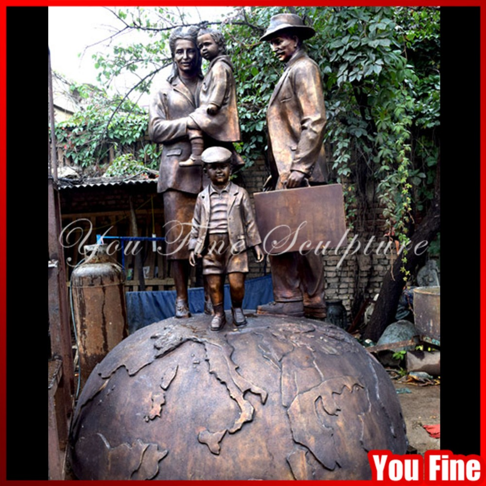 Standing Earth Family Outdoor Large Bronze Statues For Sale