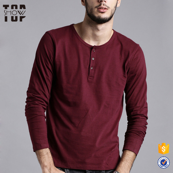 Factory price wholesale wine red button placket long sleeves 100% cotton tshirt