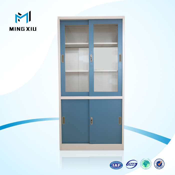 China Durable Sheet Steel Metal Glass Colorful Sliding Metal File Cabinet