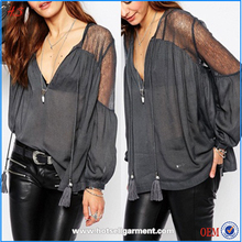 Custom latest fashion Lace Long Sleeves women tops lady blouse & top