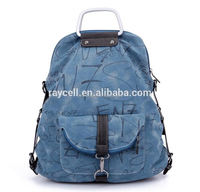 Dual-use Latest Fashion Rucksack School Bag/ cute washed cotton canvas sling bag