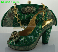 ladies shoes and matching bags high heel green color