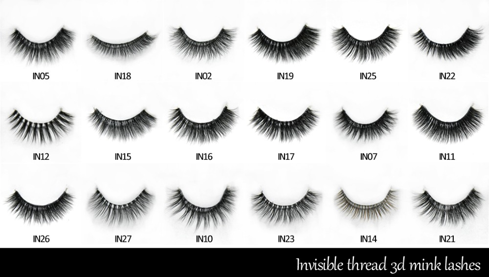 2016 new design invisible thread/invisible band mink lashes extension strip with custom made lashes box