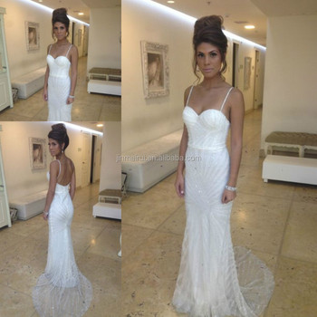 2015 Sexy Luxurious Spaghetti Straps Sweetheart Beading Backless Beach Vintage Bridal Wedding Dress