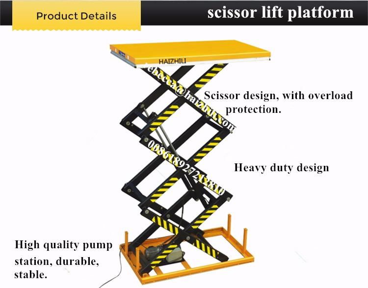 Equipamento de elevação para exterior / interior plataforma de elevação tipo tesoura estacionária de 1 tonelada