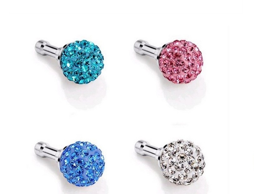 3.5mm Pink Crystal Disco Ball Anti Dust Plug Stopper for Iphone Ipad Cell Phone