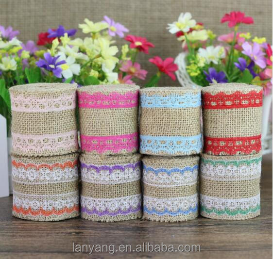 5M Jute Linen Burlap Natural Color Ribbon With Lace Trim For Wedding Party Decor