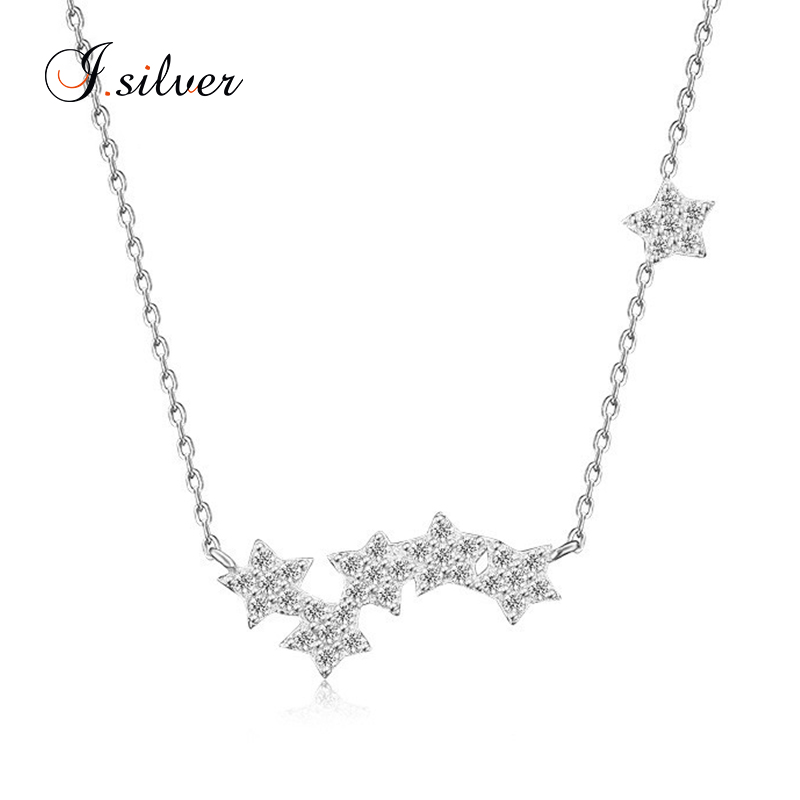 wholesale 925 Sterling Silver star micro pave fashion jewerly fancy necklace design N1249