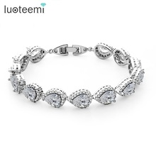 LUOTEEMI Wholesale 2017 New Arrival Rhodium White Gold Plated Luxury Waterdrop Clear Cubic Zirconia Tennis Bridal Bracelet