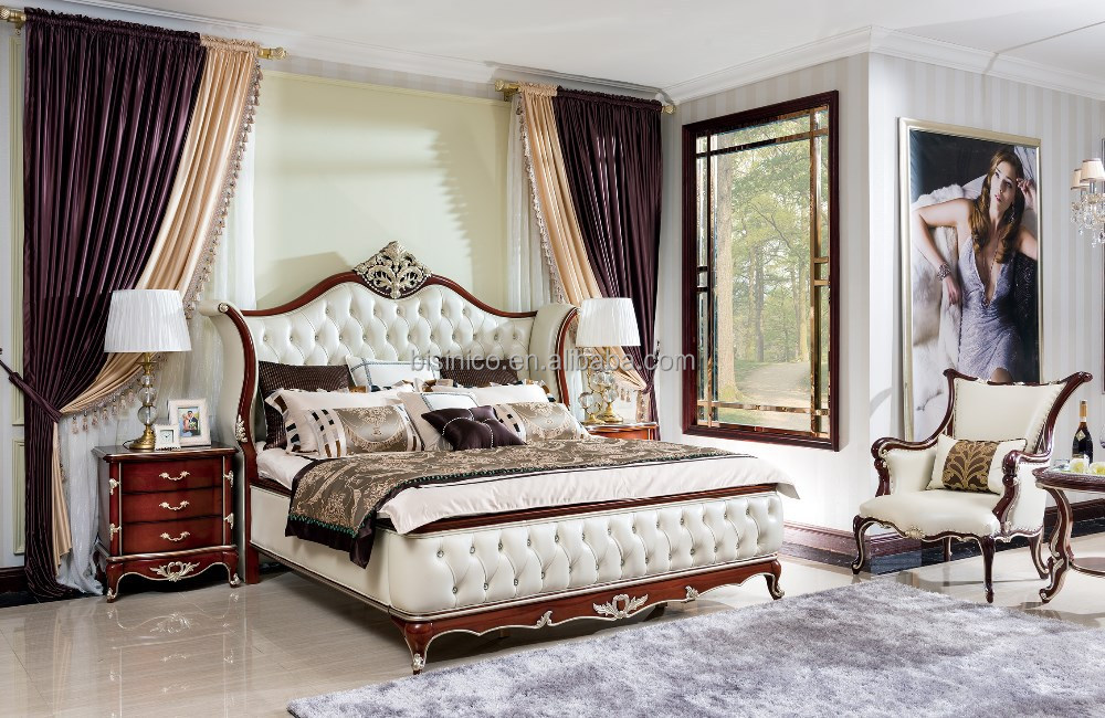 Bisini Royal Bedroom Furniture Luxury Solid Wood Bed Room