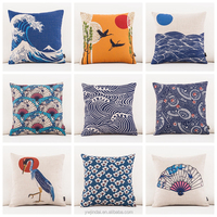 High Quality Cushions 3D Printing Cotton Linen Japanese Ukiyo Style Retro Fuji Mountain Almofadas Cojines Square For Bed