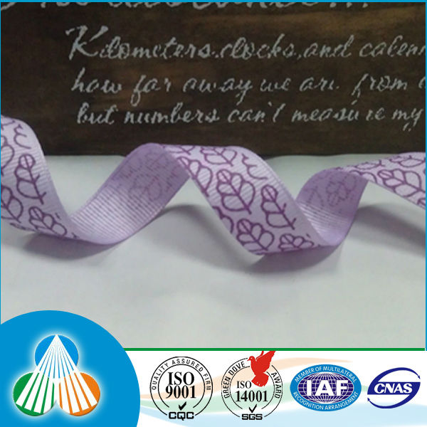 Purple polyester grosgrain satin leaf ribbon for packing