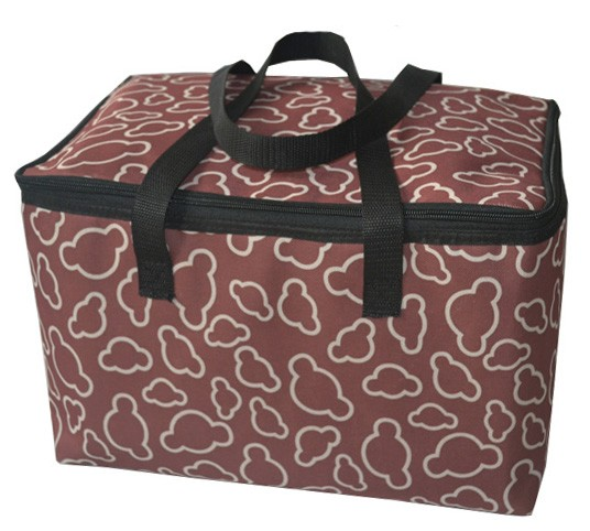 Brown nylon insulated lunch box cooler bag