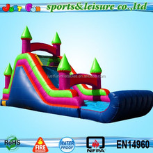 small backyard tropical wet&dry Inflatable waterslide with detachable pool and stop wall