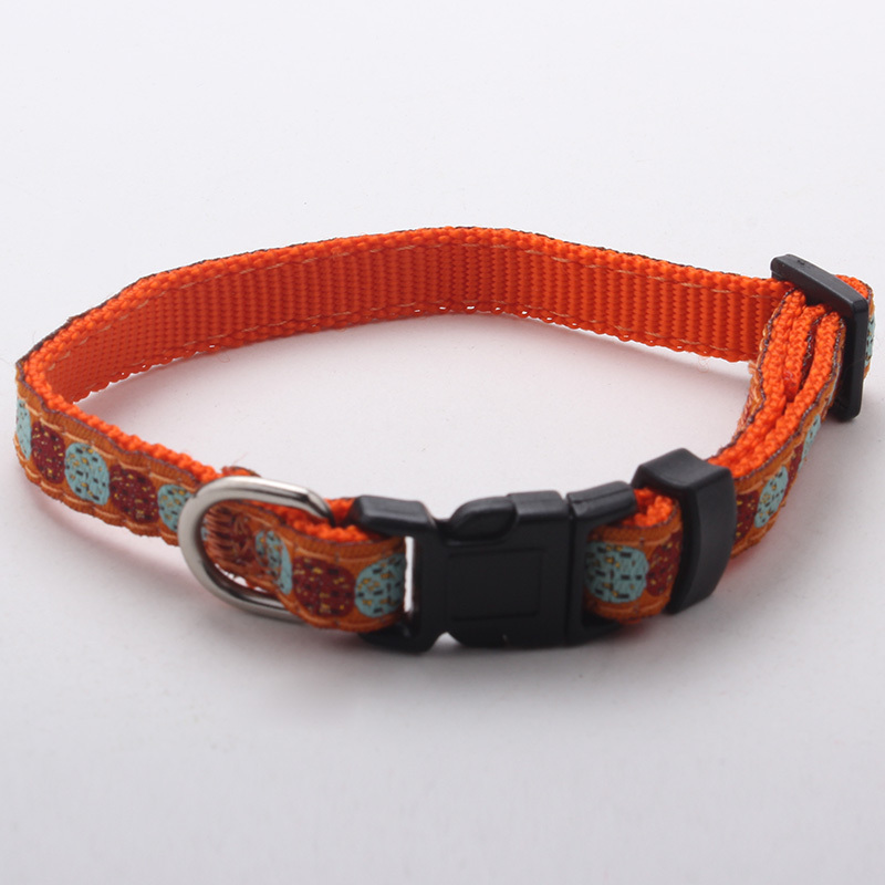 Nylon webbing dog collar with weave label