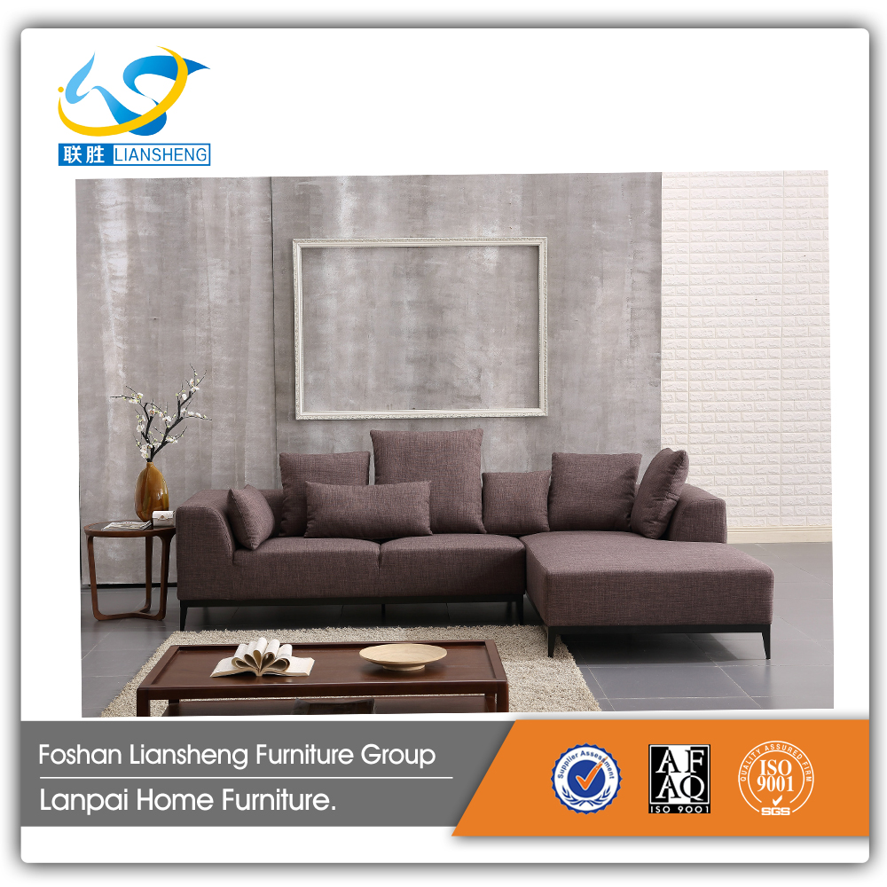 Modern Nortern Europ fabric sofa L-shaped with wooden leg