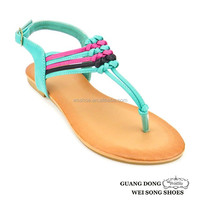 Lowest price good quality mixed colors strap weave women 2014 shoe girls name brand fashion sandals