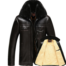 most fashion mens leather jacket with fur collar