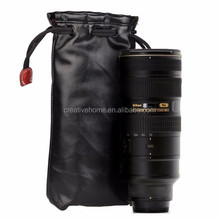 Wholesale Soft PU Leather + Villus Storage Bag with Stay Cord for Camera Lens